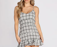 V-neck Plaid Print Short Spaghetti Strap Tiered Stretchy Shirred Dress With Ruffles