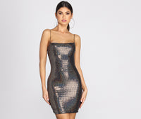 Knit Glittering Sequined Open-Back Ribbed Square Neck Short Dress