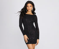 Short Long Sleeves Scoop Neck Fitted Open-Back Glittering Knit Dress