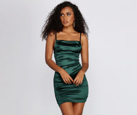 Satin Ruched Square Neck Spaghetti Strap Short Dress