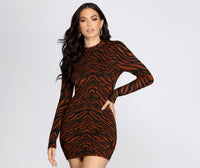 Sweater High-Neck Short Knit Animal Striped Print Button Closure Cutout Stretchy Long Puff Sleeves Sleeves Bodycon Dress