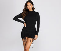 Knit Drawstring Fitted Short Mock Neck Dress