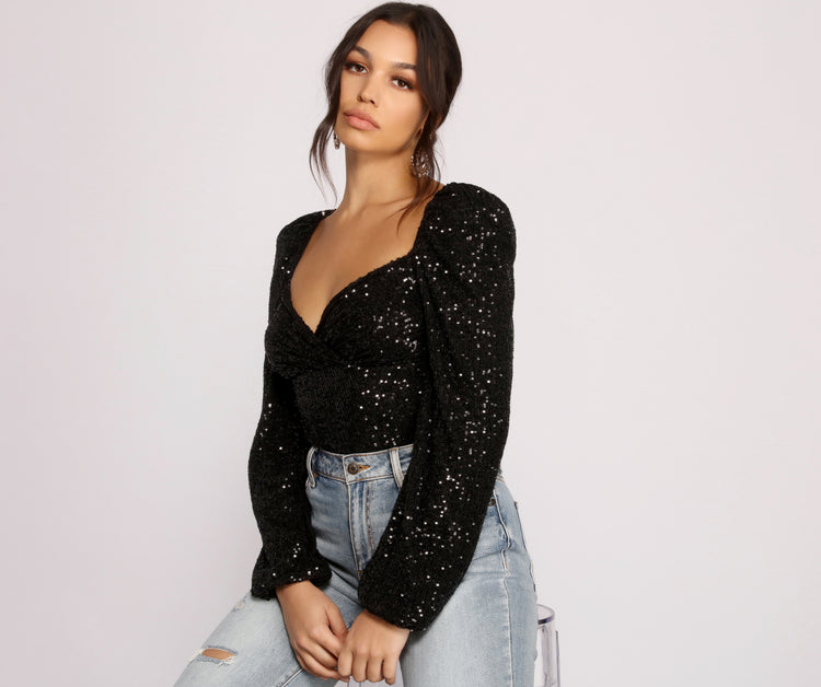 All that Glow Puff Sleeve Sequin Bodysuit