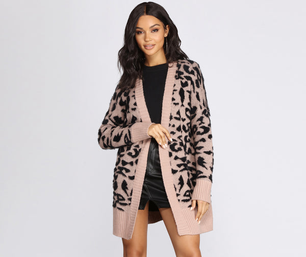 Purrfect Style Print Cardigan
