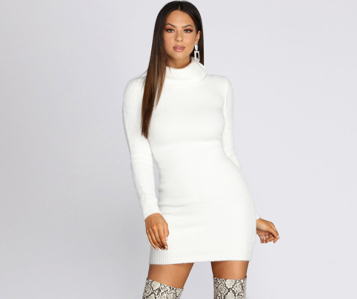 FUZZY FEELS SWEATER DRESS