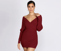 V-neck Dolman Sleeves Short Ribbed Wrap Sweater Knit Winter Dress