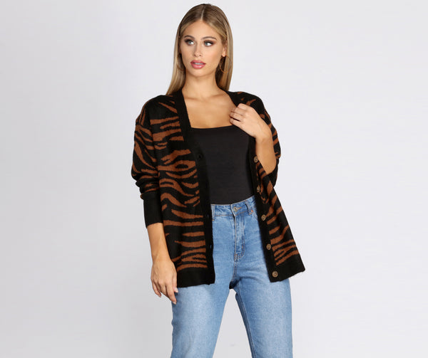 Buttoned Print Cardigan