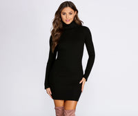 Turtleneck Fall Knit Long Sleeves Short Ribbed Dress