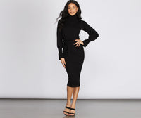 Turtleneck Bell Sleeves Sweater Ribbed Knit Tie Waist Waistline Midi Dress