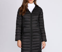 Long Puffer Hooded Jacket