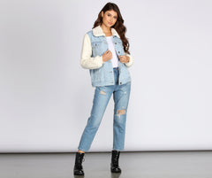Sherpa Sleeve Denim Jacket