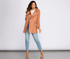 Flyin' First Class Faux Suede Trench Coat