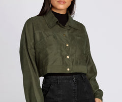 Cropped And Collared Lightweight Jacket