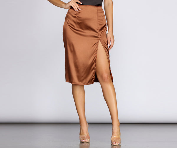 Chic Satin High Slit Midi Skirt