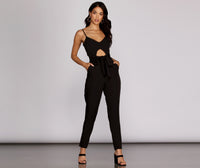 Spaghetti Strap Pocketed Banding Back Zipper Belted Keyhole Sweetheart Jumpsuit