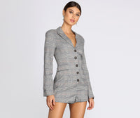 Fitted Pocketed Long Sleeves Collared Plaid Print Knit Romper