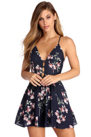 Floral Print Spaghetti Strap Lace Cutout Back Zipper V Back Button Front Romper