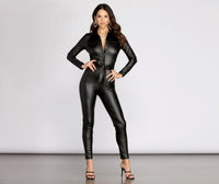 Collared Faux-Leather Button Closure Pocketed Belted Fitted Jumpsuit