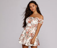 Plus Size A-line Floral Print Short Banding Off the Shoulder Skater Dress/Romper