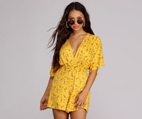 V-neck Floral Print Short Pleated Banding Kimono Sleeves Club Dress/Romper