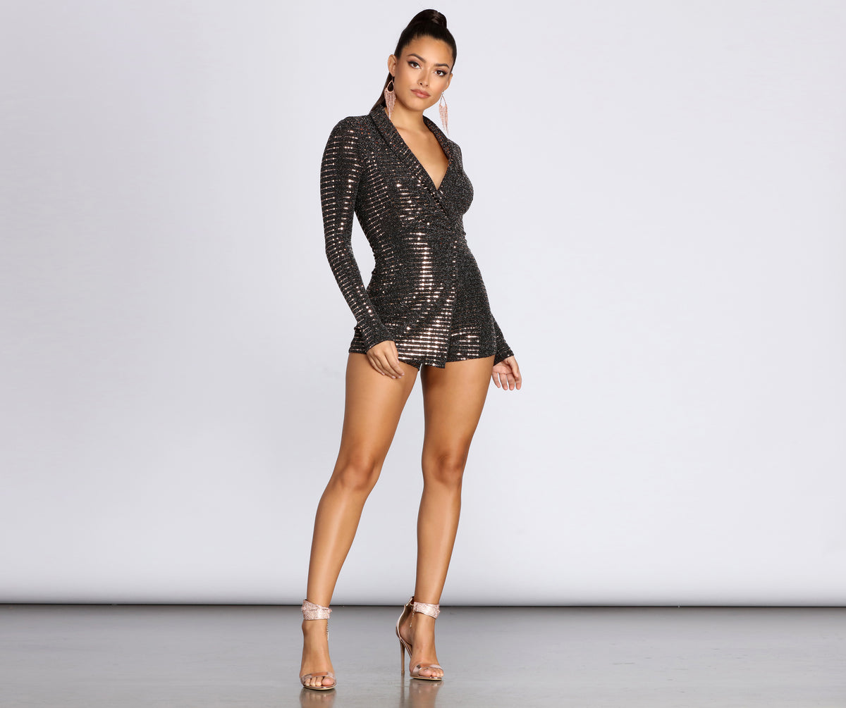 Plunge Into Glam Sequin Romper by Windsor
