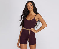 Sexy Short Open-Back Hidden Back Zipper Spaghetti Strap Romper