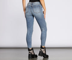 Clara High Rise Destructed Skinny Crop Jeans