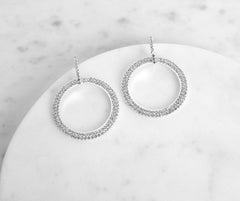 Rhinestone O-Ring Earrings