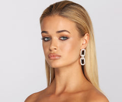 Tiered Rhinestone Chain Link Earrings