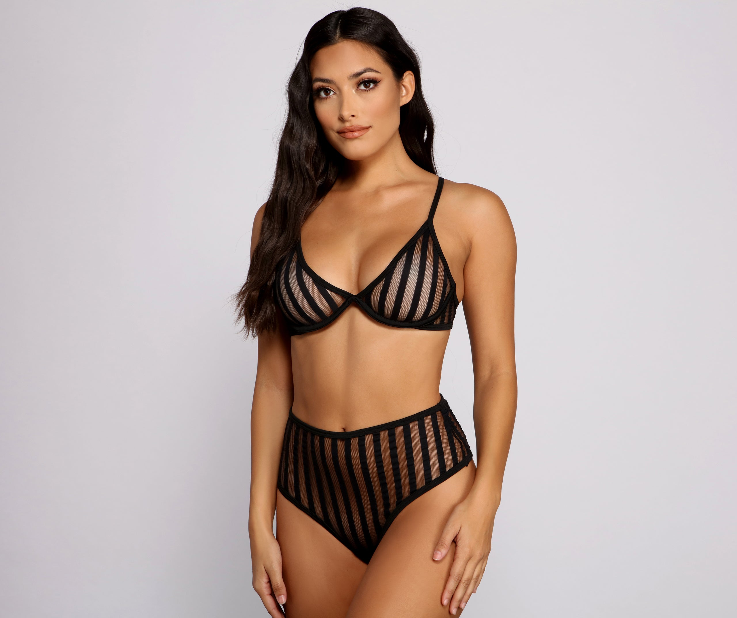 Striped and Sultry Mesh Bra and Panty Set