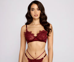 Floral Beauty Embroidered Mesh Bralette And Panty Set
