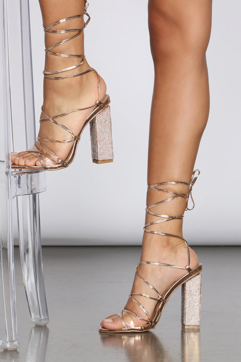 Lace-Up And Light Up Rhinestone Heels