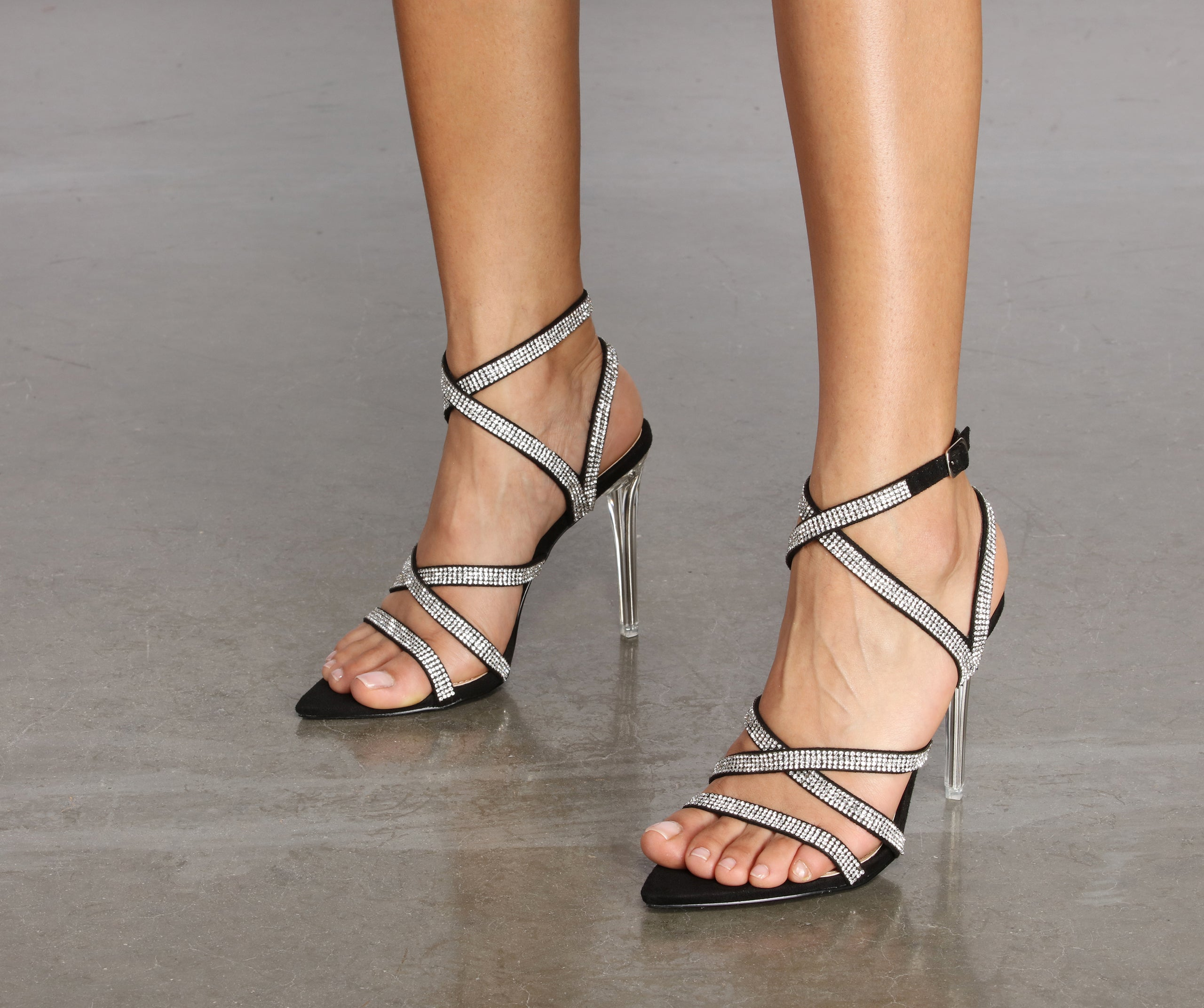 Stiletto Glitter Christmas Party Sandals Caged Evening Strap Open Toe Shoes size