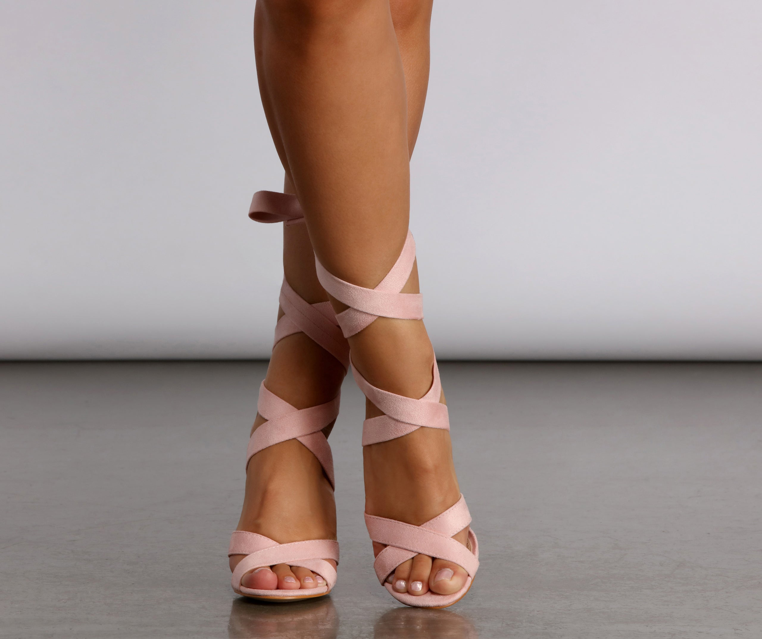 All Dressed Up Wrap Lace-Up Pink Heels