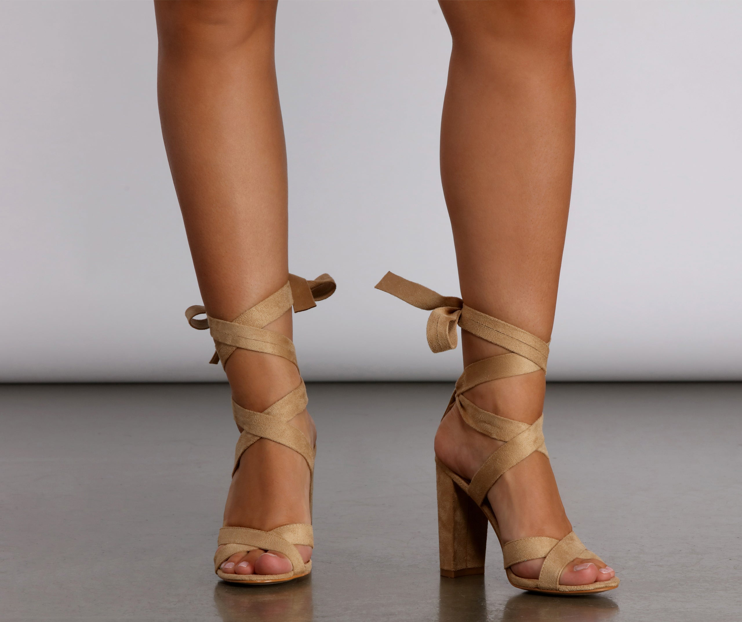 All Dressed Up Wrap Lace-Up Nude Heels
