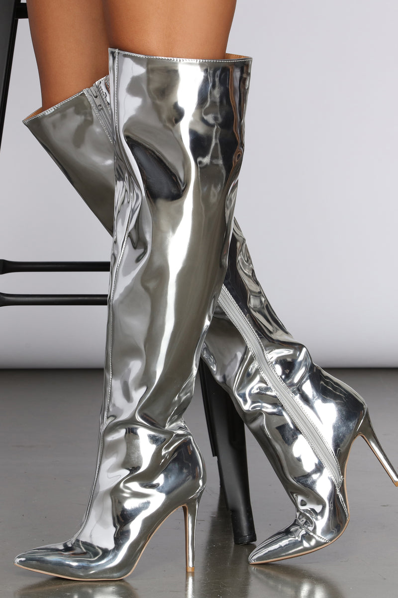 Mirrored Over The Knee Stiletto Boots