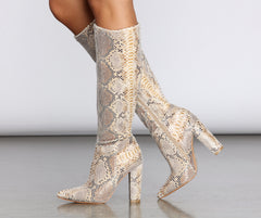 Snake Attraction Knee-High Boots