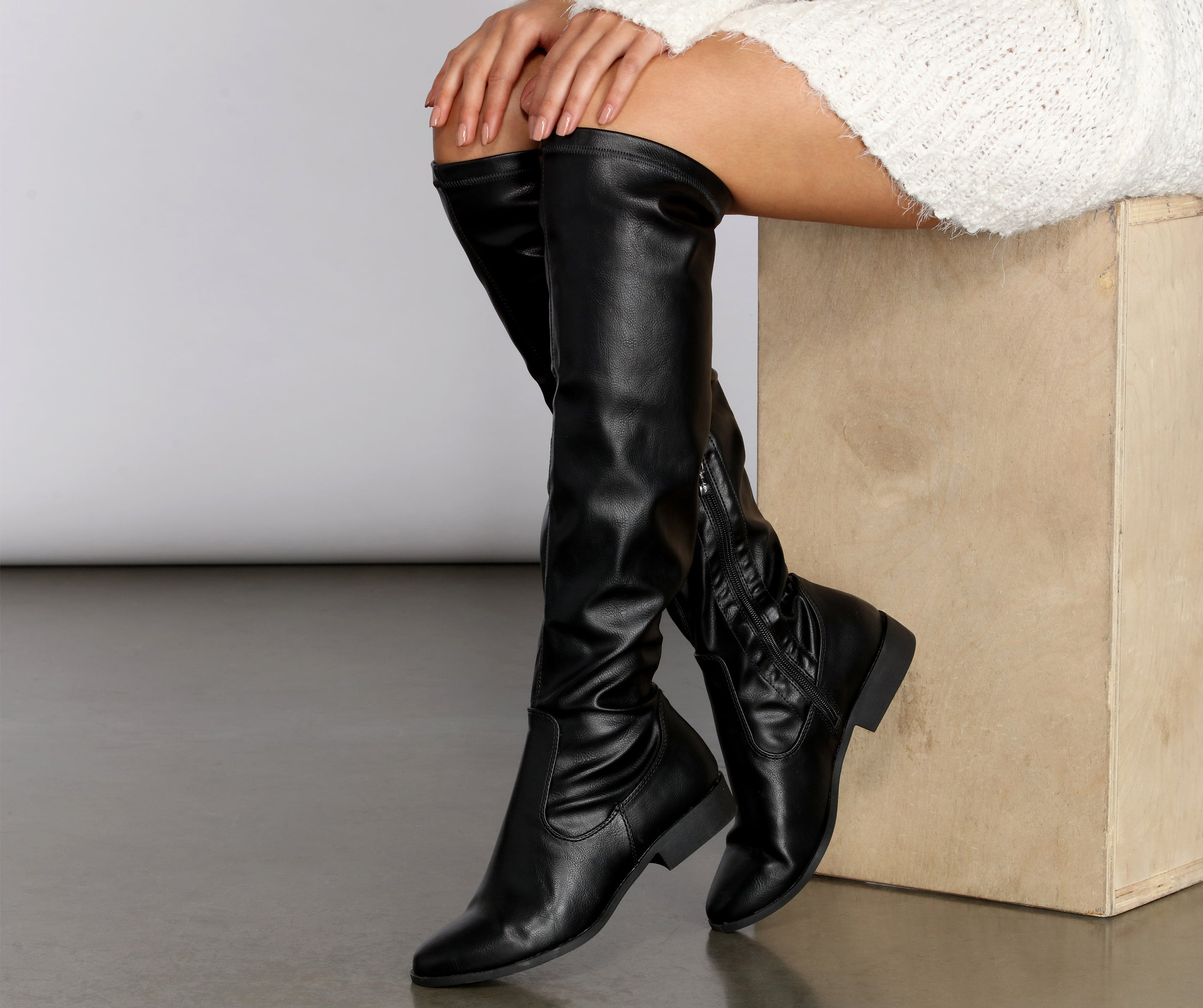 Flat Faux Leather Tall Boots – Windsor