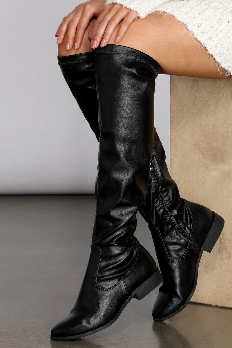 Flat Faux Leather Tall Boots | Windsor