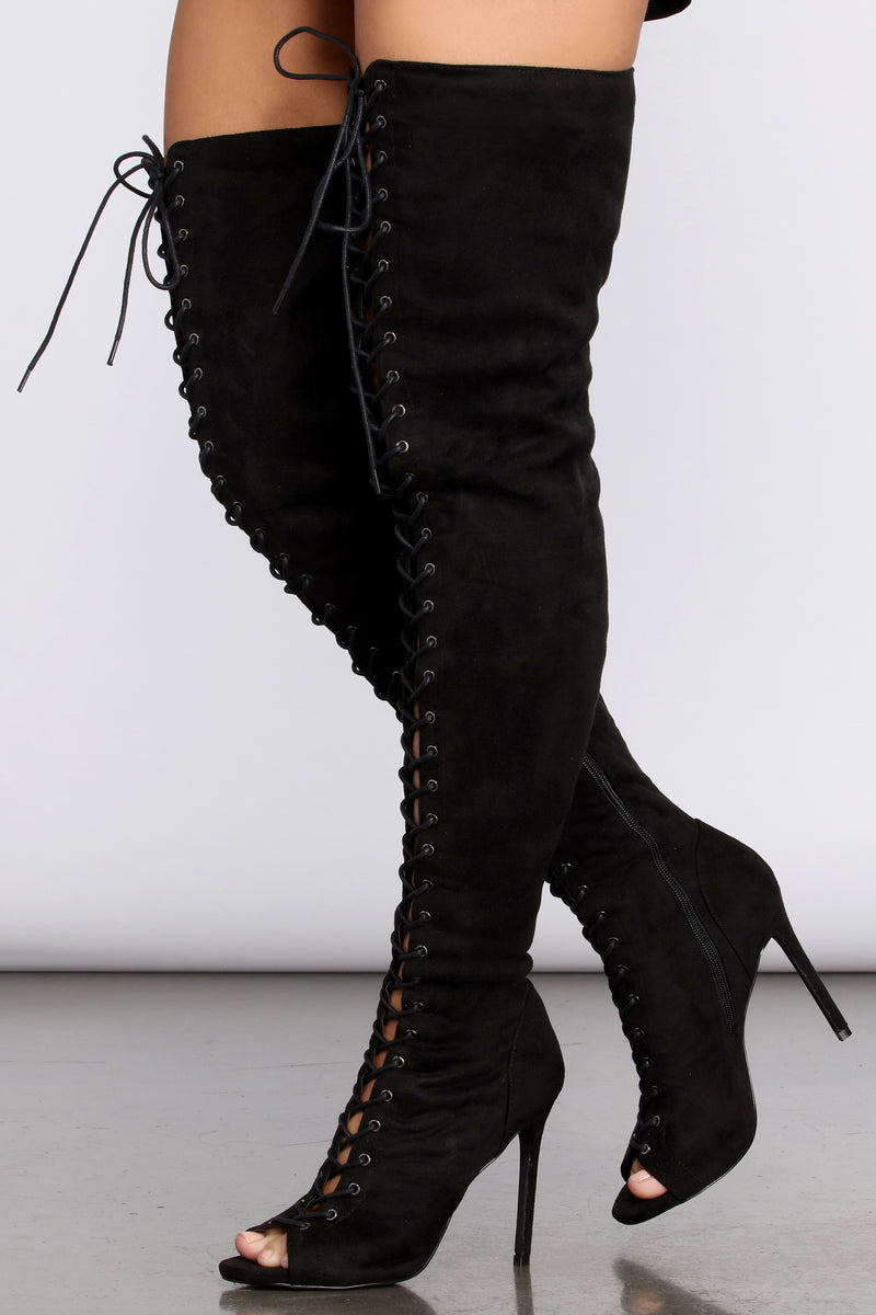 Peep Toe Lace Up Thigh High Stiletto