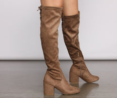 Over The Knee Tie Back Heeled Boots