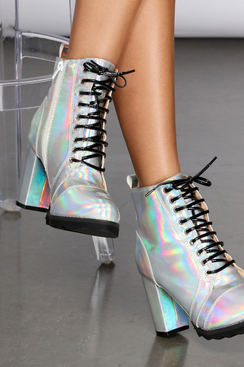 Holographic Lace Up Combat Boot | Windsor