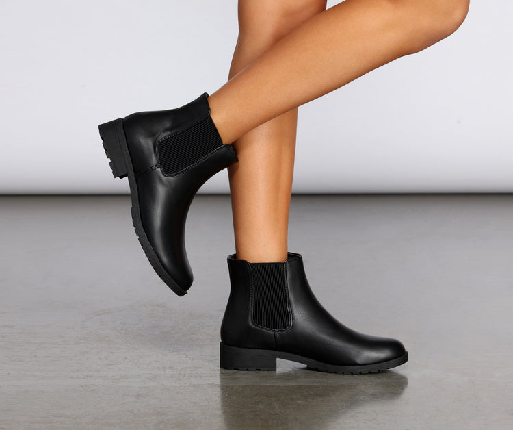 Easy Going Faux Leather Ankle Booties