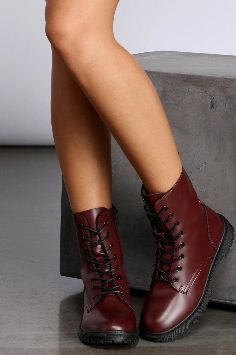 Faux Leather Lace-Up Combat Boots – Windsor