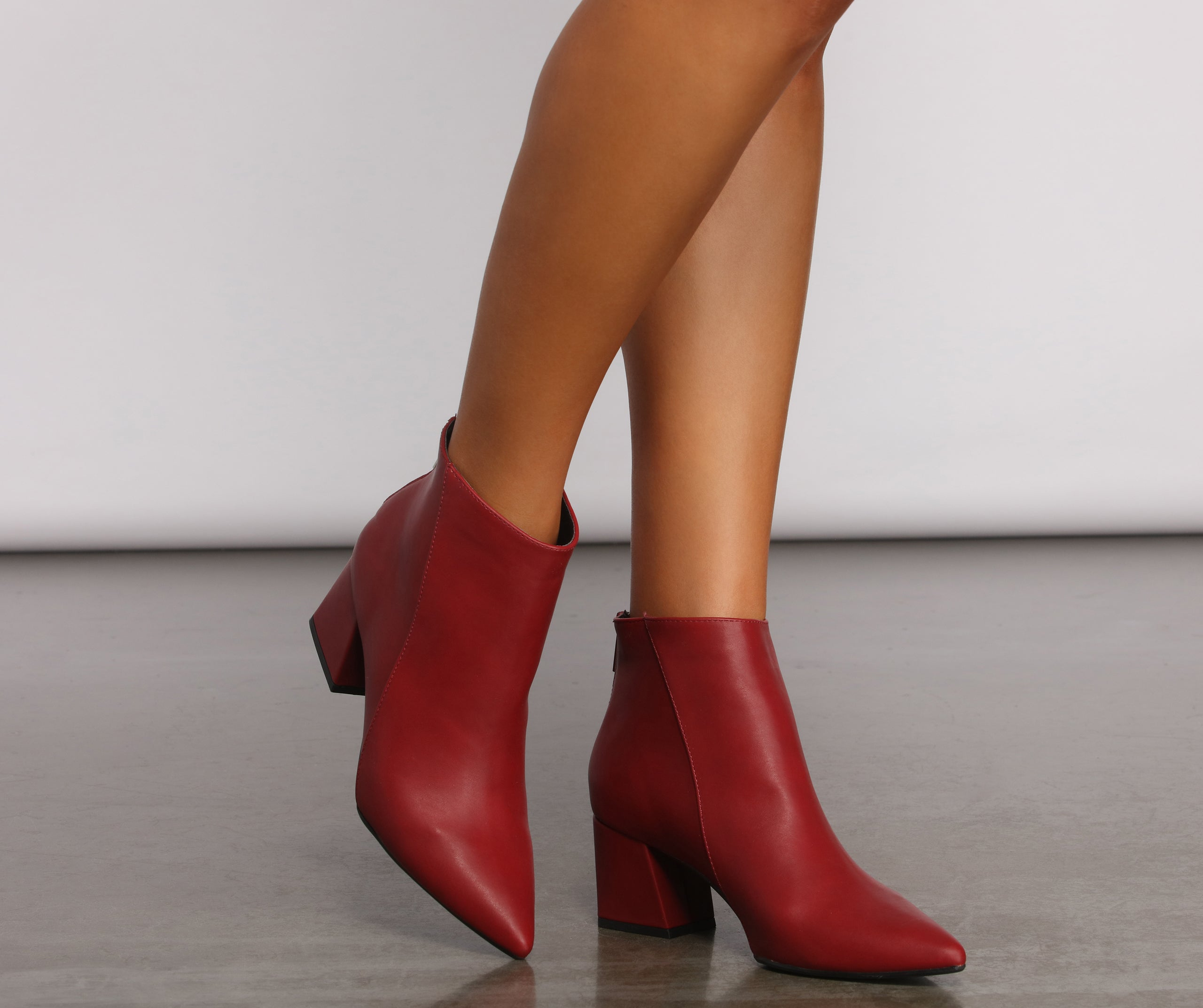 Faux Leather Basic Pointy Toe Booties
