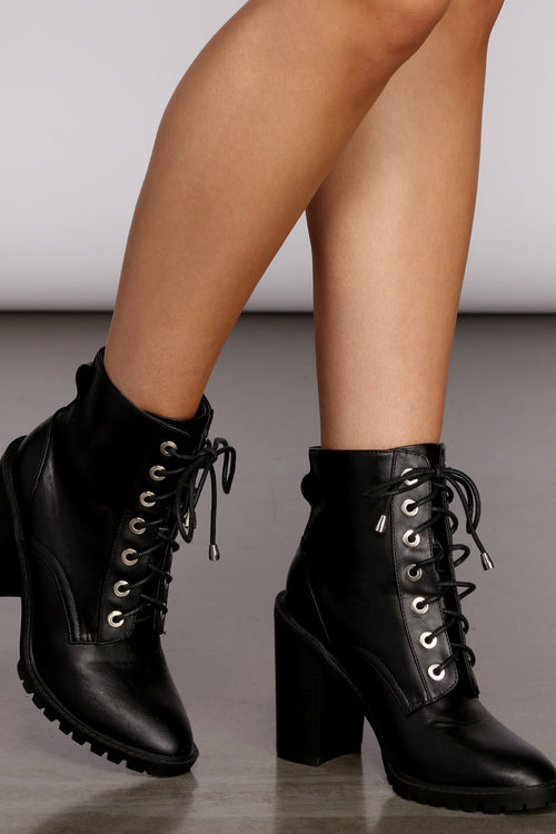 Womens Lace Up Prom Booties Side Zipper Stiletto High Heels Military Biker Boots