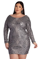 Plus Size Round Neck Mesh Sequined Back Zipper Fitted Short Geometric Print Long Sleeves Dress