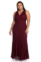 Plus Size V-neck Sleeveless Mermaid Keyhole Glittering Back Zipper Princess Seams Waistline Lace Trim Evening Dress