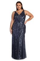 Plus Size V-neck Mermaid Knit Back Zipper Sequined Mesh Floor Length Dress