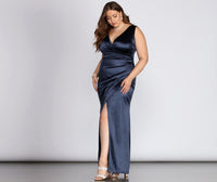 Plus Size Sophisticated V-neck Floor Length Slit Ruched Stretchy Wrap Tank Satin Evening Dress